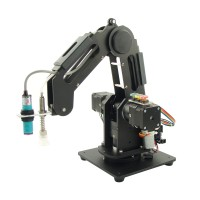 Mechanical Robot Arm 3 Axis Desktop Production Line Carry Aluminum Alloy 6061 Black