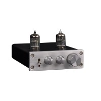 D2 Preamplifier Tube 2 Channel Pre-Amps with Treble Bass Adjustable DC 12V Silver