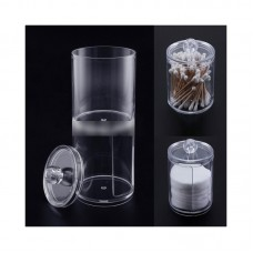 2 In 1 Clear Cotton Swab Holder Dual Layer Q-Tip Storage Nail Art Remover Paper Holder
