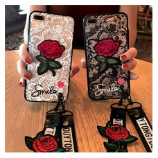 Rose Phone Case Lace Embroidery Rose Stickers Cover For Apple iPhone 6 6s 7 8 plus iPhone 7, 8, 8P, X Soft Mobile Phone Case