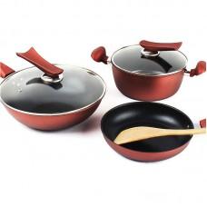 3PCS Non-Stick Cookware Set Wok Frying Pan Soup Pot Stainless Steel Non Stick Pans
