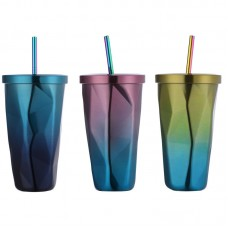 Colorful Stainless Steel Cup Travel Coffee Mug Insulated Cup with Straw Tea Milk Cup with Lid 473ml
