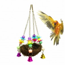 Natural Rattan Bird Swing Toy Nest with Bells for Parrot Cockatoo Macaw Cockatiel Conure Lovebird