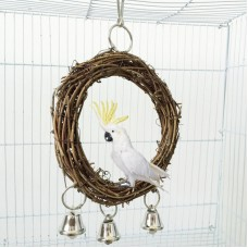 Natural Rattan Bird Ring Perch Swing For Bird Cage For Small Parakeets Cockatiel Parrot Love Birds