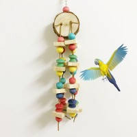 40cm Colorful Pet Bird Chewing Toy Parrot Cage Block Natural Wood For Parakeet Swing Bird Parrot Toy