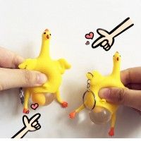 Rubber Chicken Keychain Hen Chicken Laying Egg Squeezing Stress Relief Keyring Toys