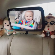 Rectangular Rear Mirror For Baby Seat Facing Back Adjustable Angle Infant Kids Child Toddler Black