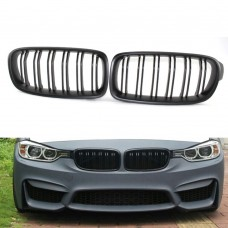 For BMW F30 F31 F35 3 Series 2012-2018 Front Kidney Grill Grille Dual Line Matte Black