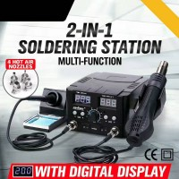 2 In 1 Soldering Rework Station Hot Air & Iron Desoldering Welder 750W Dual Display + 4 Nozzles