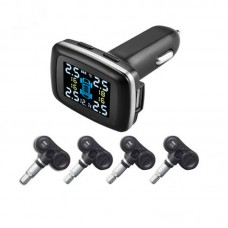 Car TPMS Wireless Tire Pressure Monitoring System 12V Digital Tire Pressure Alarm with External Sensor