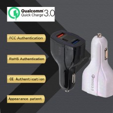 QC3.0 Car Charger Adapter Dual USB Port + Type-C Fast Quick Charge Adapter For Mobile Phone DC12-32V