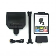 1-600X Portable Digital Microscope HD 3.6MP Continuous Magnifier 4.3 Inch Display