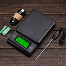 2KG/0.1g Coffee Scale with Timer Temperature Probe LCD Display Mini Digital Kitchen Scale