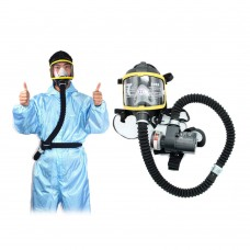 Air Fed Full Face Gas Mask Respirator System Electric Supplied 2 Wind Speed Modes