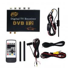 Dual Antenna DVB-T2 Digital TV Receiver Tuner HD Mobile Car TV Box USB HDMI