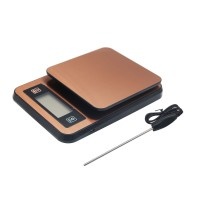 Digital Coffee Scale with Timer Temperature Probe Stainless Steel 3KG/0.1G Kitchen Food