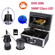 7'' 30M HD 1000TVL Underwater Fish Finder 22pcs LED DVR Fishing Video Camera Kit