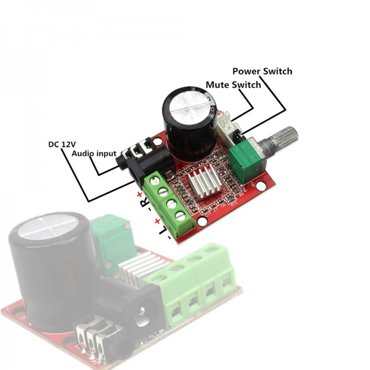 PAM9610 Stereo Audio Amplifier Board 12V Class D Amp Module
