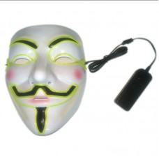 Luminous V Vendetta Mask Battery Operated Type Halloween Costume Cosplay Mask Lake Blue/Green