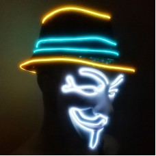 Luminous Vendetta Hat Men + Vendetta Mask White Lighting Color Battery Type Halloween Cosplay Props