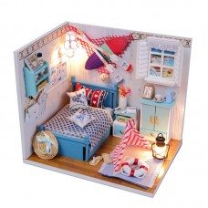 Dreamy Dollhouse Bedroom Kit Miniature Dollhouse Kits Girl's Bedroom with Lights Furniture Toys
