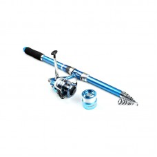 Carbon Fiber Telescopic Fishing Rod 2.1m Sea Rods Spinning Fishing Pole + 3000 Metal Reel Combo