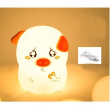Silicone LED Night Light Colorful Night Lamp Cute Little Pig Patting Type w/USB Charging Cable