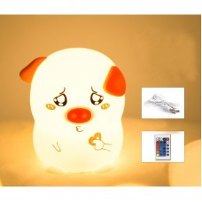 Silicone LED Night Light Colorful Night Lamp Cute Pig Patting + Remote Control Type w/USB Cable