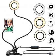 Photo Studio Selfie LED Ring Light +Cell Phone Mobile Holder for Youtube Live Stream Makeup Camera Lamp for iPhone Android