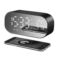 LED Alarm Clock with FM Radio Bluetooth Speaker Wireless Support AUX TF USB Music Player for Bedroom Office