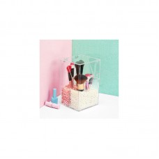 Crystal Acrylic Makeup Brush Organizer Cosmetic Storage Box + Two Bags of Artificial Pearls Flashing Pencil Lipstick Holder