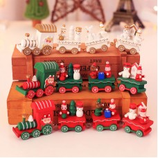 Christmas Train Painted Wood with Santa/Bear Xmas Kid Toys Gift Ornament Xmas Decor for Home