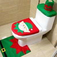 Toilet Seat Cover Set Christmas Toilet Decoration Xmas Decor Snowman/ Santa/Elf Optional