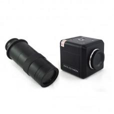 Digital CCD Camera BNC Digtial Microscope Eyepiece 800Lines Industrial Camera + Zoom 130X C-Mount Lens