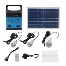 10W Solar Power Generator LED Light USB Charger Home System Kit w/Solar Panel Outdoor Garden