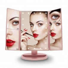 3 Folding Makeup Mirror 22 LEDs 10X Magnifying Dimmer Illuminated Light for Vanity Table