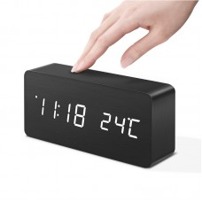Wooden Voice Clock Digital Temperature Alarm Multifunctional Display HF Office Home Use DG-AC2