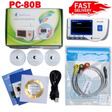 Handheld ECG Monitor Portable EKG Monitor Color Patient Monitor + Lead Cable & Electrode Pads PC-80B