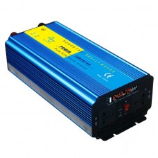 1000W Solar Power Inverter Pure Sine Wave DC 24V to AC 220V Blue with LCD Screen