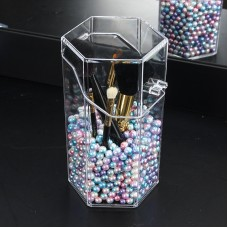 Transparent Makeup Brushes Holder Dust-Proof Makeup Organizer Box + Colorful Artificial Pearls