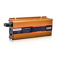 2000W Solar Power Inverter Golden Car Power Inverter Modified Sine Wave LCD Screen DC 12V to AC 110V