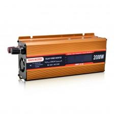 2000W Solar Power Inverter Golden Car Power Inverter Modified Sine Wave LCD Screen DC 12V to AC 220V