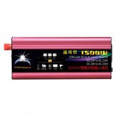 1500W Solar Power Inverter Car Power Inverter DC 12V/24V to AC 220V Modified Sine Wave USB Port