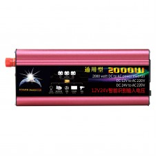 2000W Car Solar Power Inverter DC 12V/24V to AC 220V Modified Sine Wave Auto Identifiation USB Port
