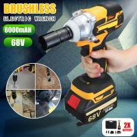 68V 6000mAh Cordless Wrench Electric Impact Wrench Brushless Wrench Tool 2 Batteries 1 Charger
