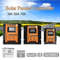 12V/24V 30A Solar Charge Controller for Charging Discharging Dual USB Output LCD Display Screen