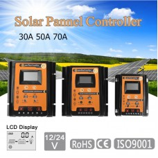 12V/24V 70A Solar Charge Controller for Charging Discharging Dual USB Output LCD Display Screen