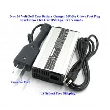 36V 5A Golf Cart Battery Charger Crows Foot 110V US Plug for Star Ez Go Club Car DS EZgo TXT Yamaha