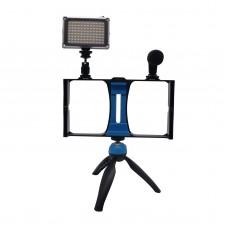 PULUZ Smartphone Video Rig+LED Studio Light+3.5mm Microphone+Tripod Mount