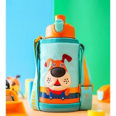 Thermos Bottle Kids 630ml Stainless Steel with 3 Lids Straw Cute Puppy Pattern for Boys Girls